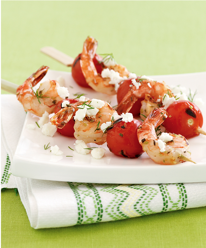 Lemon-Grilled Shrimp with Feta and Tomatoes