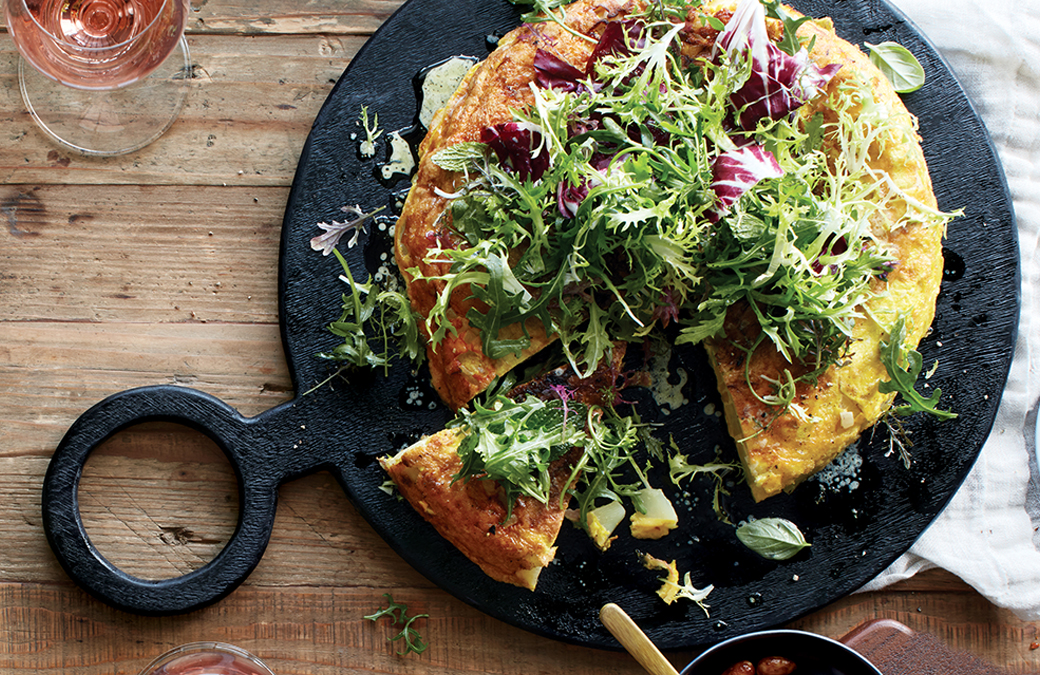 Spanish Tortilla with Serrano Ham & Greens in Citrus Vinaigrette