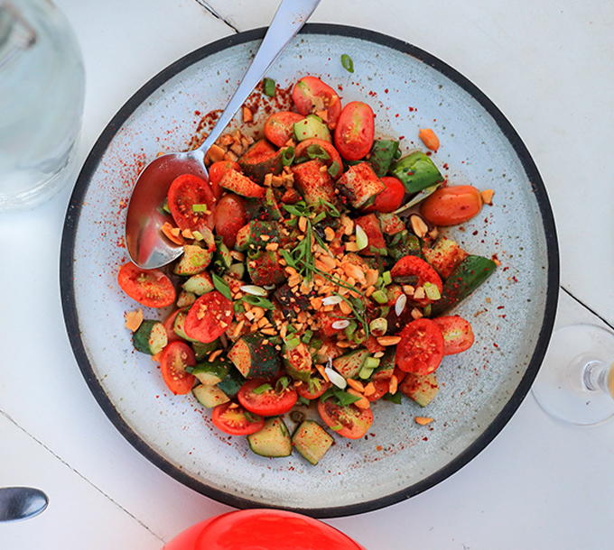 Fiery Cucumber Salad with Crushed Peanuts