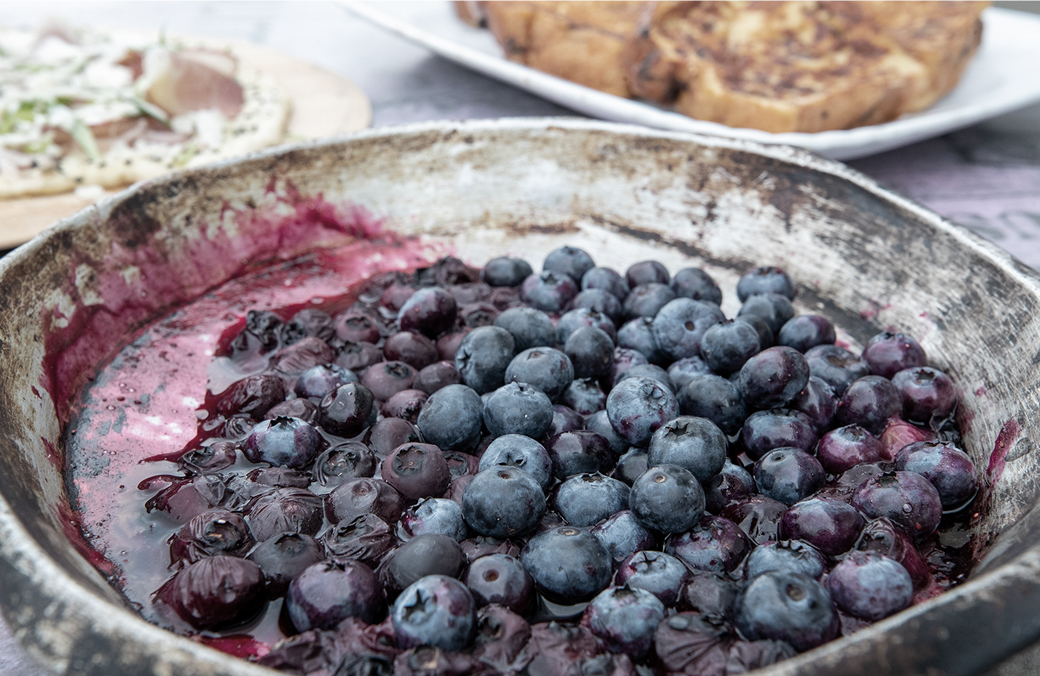 French Toast with Simmered Blueberries
