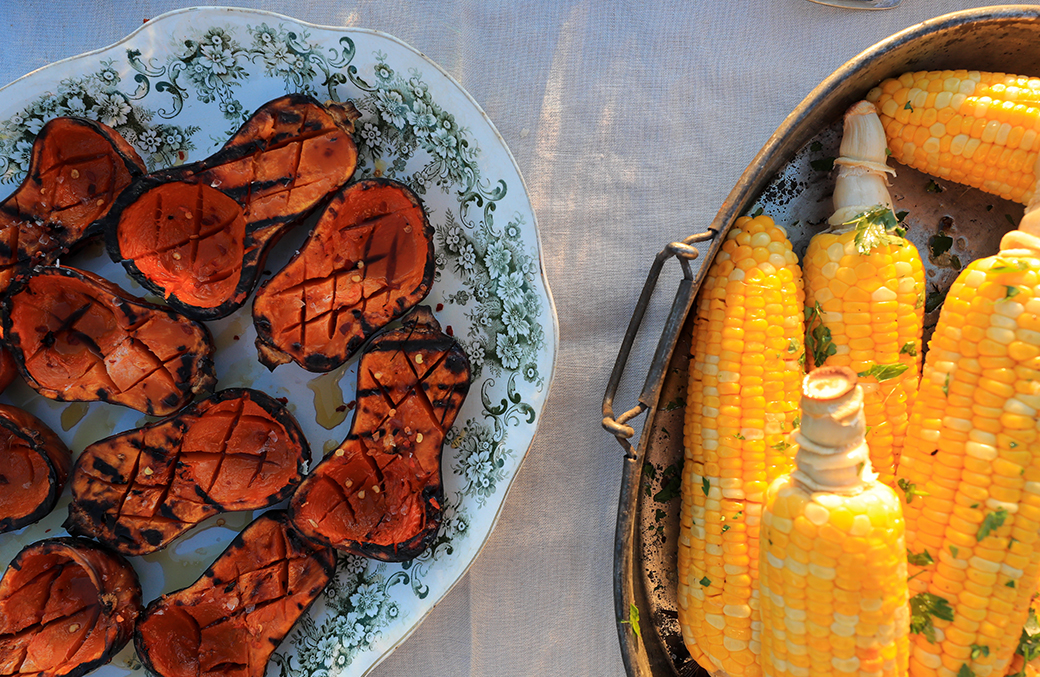 Maple-Glazed Squash and Grilled Corn