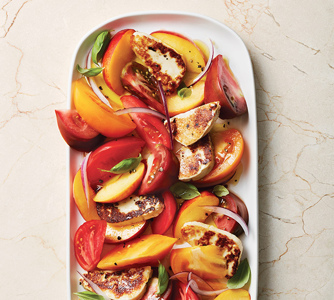 Nectarine and Tomato Salad with Fried Halloumi And Basil