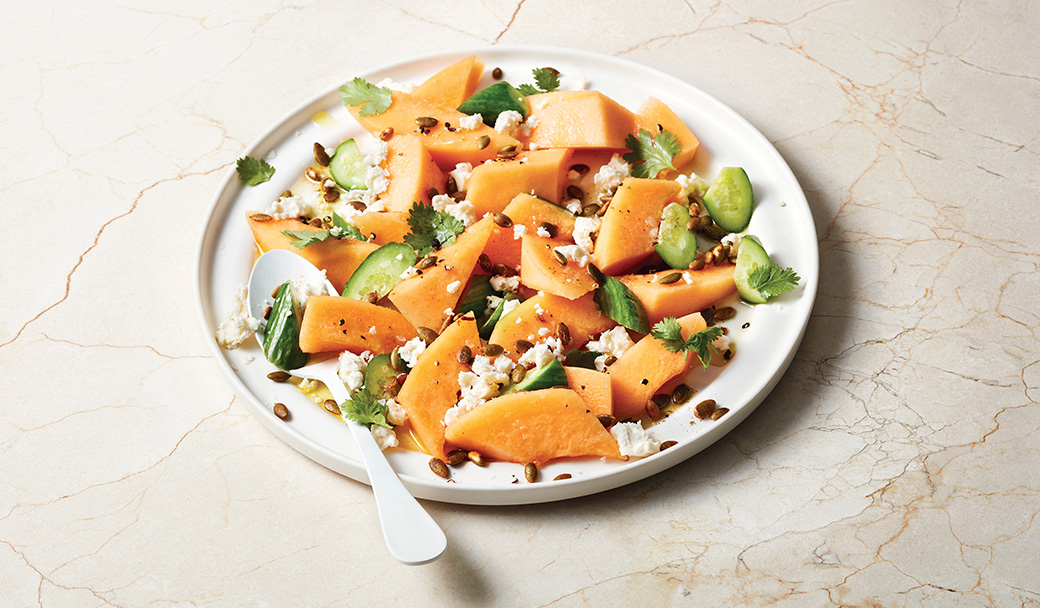 Cantaloupe & Cucumber Salad with Queso Fresco & Spiced Pepitas