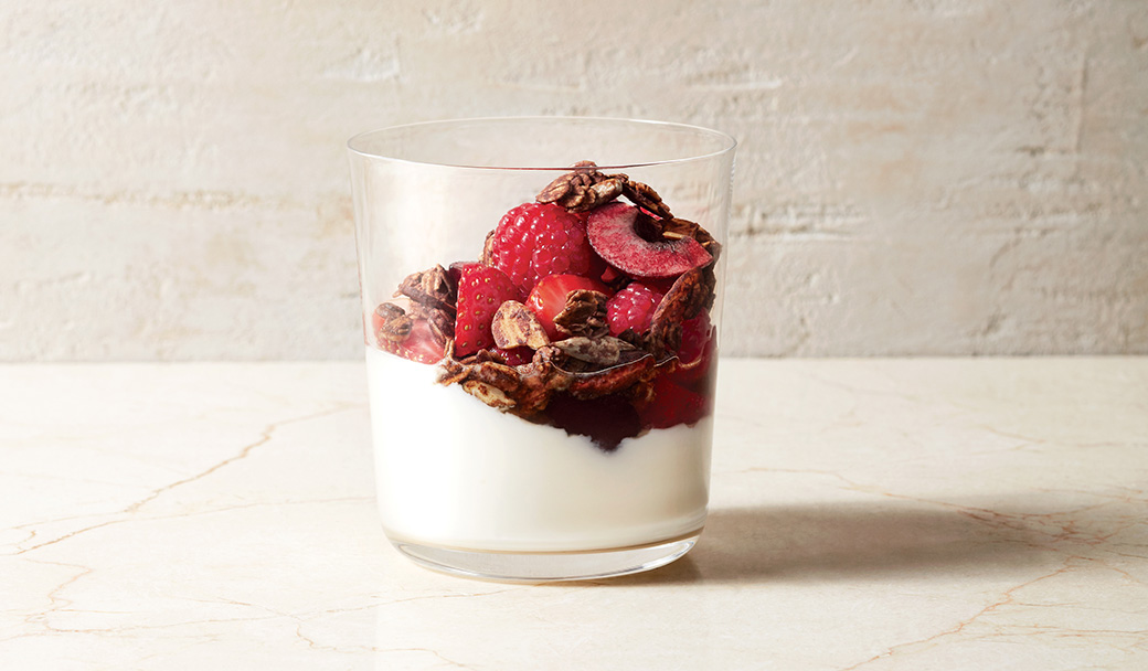 Red Fruit Salad With Yogurt and Chocolagte Granola