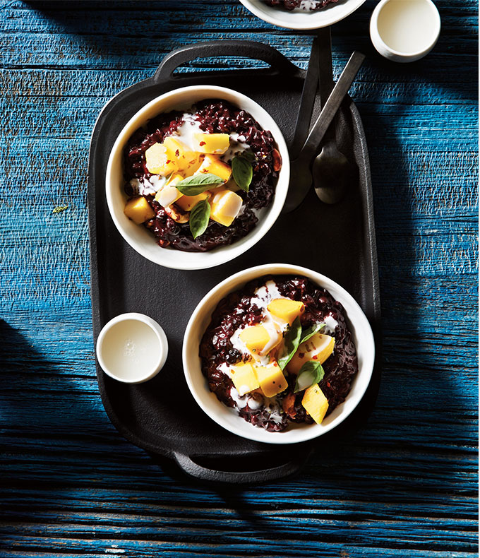 Black Rice Pudding with Coconut Milk & Diced Mangoes