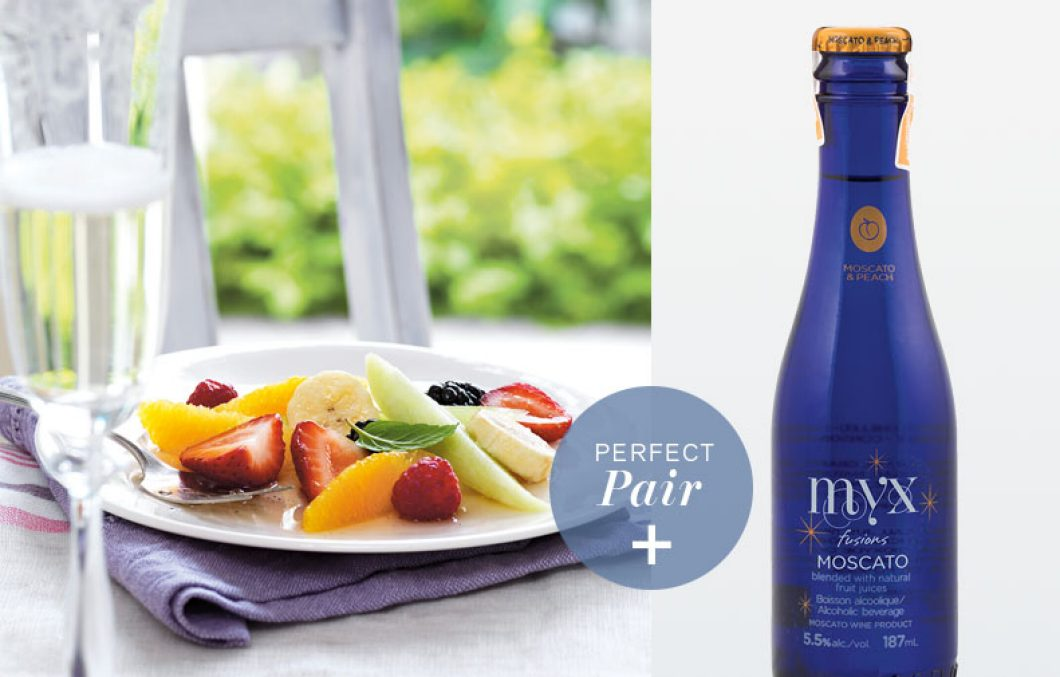 Vanilla Pepper Fruit Salad Myx Fusions Moscato And Peach Wine Cooler