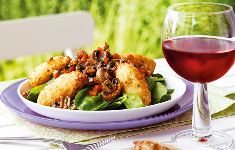 Spinach Salad with Marinated Mushrooms and Ricotta Fritters