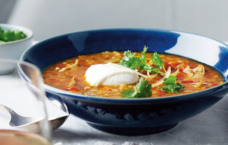 Moroccan Chicken, Lentil and Barley Soup
