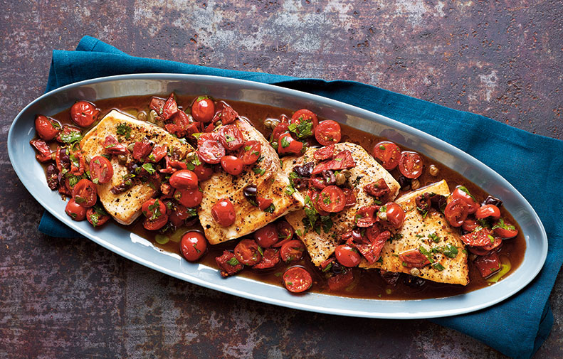 Swordfish with Capers, Olives & Sun-Dried Tomatoes