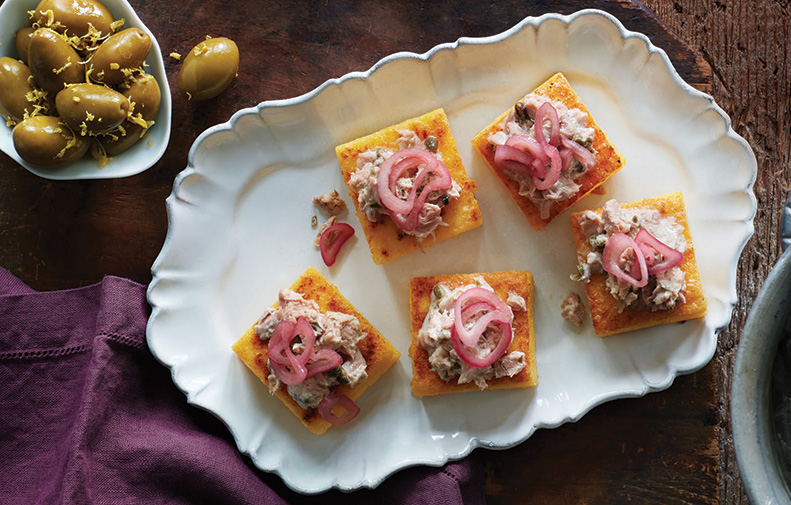 Crispy Polenta Squares with Tonnato Sauce & Quick Pickled Shallots