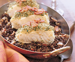 Roasted Sea Bass with Braised Lentils and Instant Aioli