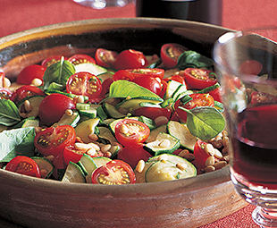 Cherry Tomato and Zucchini Sauté with Basil and Pine Nuts
