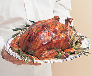 Roast Capon with Mushroom, Onion Stuffing