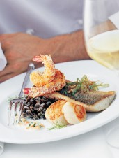 Grosvenor's Panache of Lake Huron Whitefish with Coconut-Fried Shrimp and Scallops
