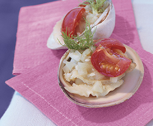 Chilled Clams with Fennel and Tomatoes Served on the Half-Shell