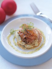 Gravlax with Mustard Sauce on Dill and Scallion Pancakes