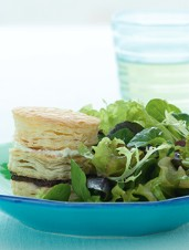 Mixed Green Salad with Tapenade Goat Cheese Napoleons