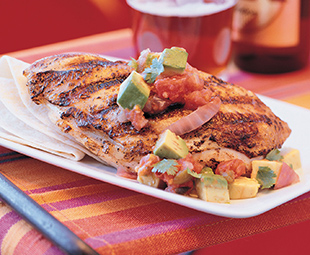 Mexican Chicken with Grilled Tomato Avocado Salsa