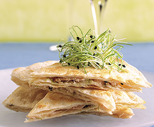Smoked Chicken Quesadillas with Onion Sprouts and Brie