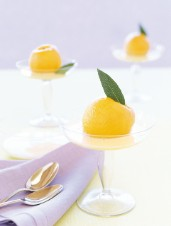 Poached Peaches with Bay-Scented Crème Anglaise