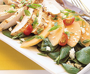 Grilled Mediterranean Chicken, Melon and Feta Salad