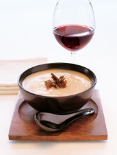 Cauliflower Soup with Duck Garnish
