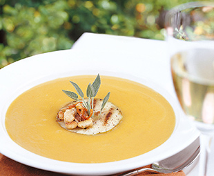 Pumpkin and Apple Soup with Roasted Black Walnuts