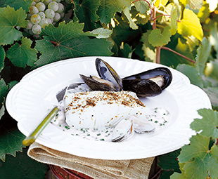 Roasted Halibut with White Wine Sauce & Mussels