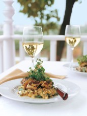 Roasted Dijon-Brushed Chicken Breasts with Herb Crust, Sweet Potato and Arugula Risotto