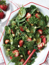 Strawberry Macadamia Nut and Spinach Salad with Honey Mustard Vinaigrette