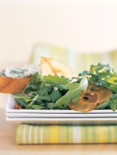 Roquefort Beer Toasts with Watercress and Dried Pear Salad