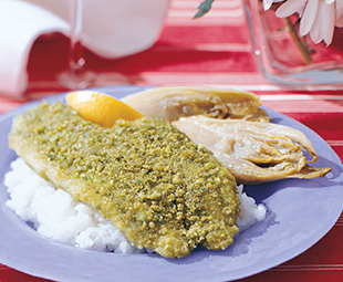 Wasabi Crusted Sole with Glazed Endive