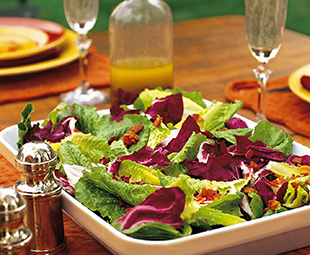 Romaine and Radicchio Salad with Pancetta and Black Olive Vinaigrette