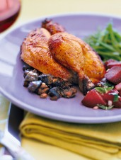 Rock Cornish Hens with Mushroom Stuffing