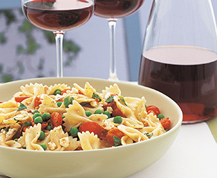 Farfalle with Cherry Tomatoes, Peas, Fresh Mint and Feta