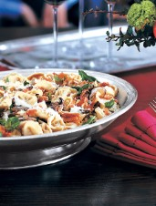 Cheese Tortellini with Mushrooms and Prosciutto