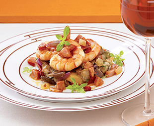 Shrimp, Chorizo and Ratatouille Salad