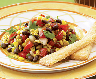 Grilled Corn, Black Bean and Tomato Salad with Smoked Cheese Biscuits