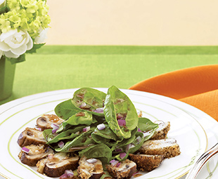 Spinach Salad with Stuffed Mushrooms