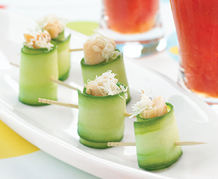 Cucumber Rolls with Smoked Trout