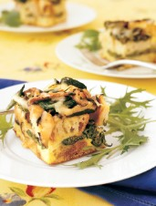 Savoury Bread Pudding with Fiddleheads and Mushrooms