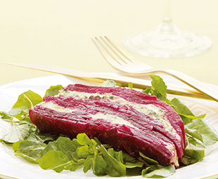 Beet and Goat Cheese Terrine with Roasted Walnut Vinaigrette