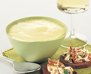 Roasted Asparagus Soup with Saffron Lobster Foam, Salad and Toasts