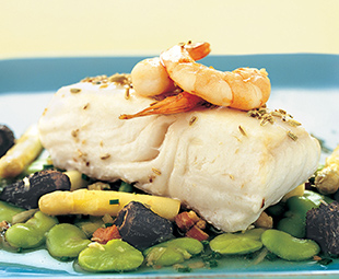 Roasted Halibut with a Ragout of Morels, Fava Beans and White Asparagus