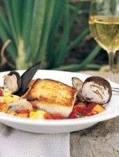 Seared Halibut with Summer Squash and Corn Cioppino