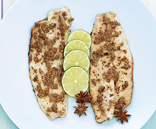 Spice Encrusted Bass Fillets