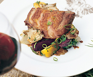 Roasted Duck Breast with Beets, Mint and Oyster Mushrooms