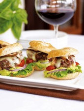 Miniature Veal, Basil and Black Peppercorn Burgers