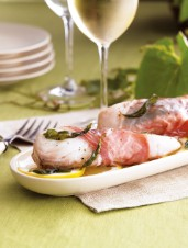 Prosciutto-Wrapped Halibut with Sage Butter