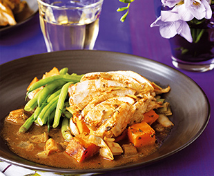 Chicken on a Bed of Sauteed Leeks and Sweet Potatoes